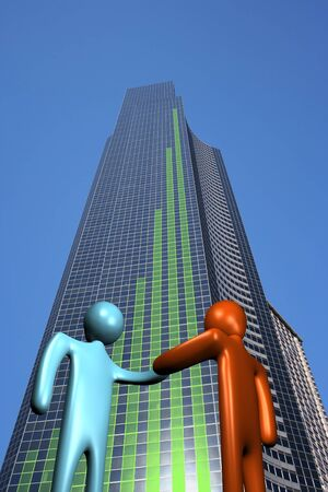 abstract people shaking hands and skyscraper with graph illustration Stock Illustration - 4504838