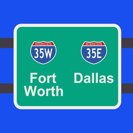 indication: freeway to downtown Fort Worth and Dallas sign illustration
