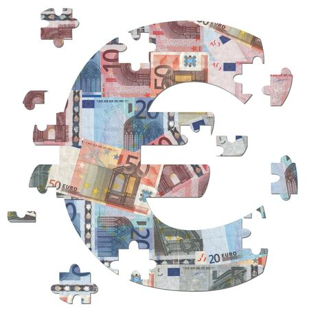 economic recession: Euro symbol jigsaw with missing pieces illustration Stock Photo