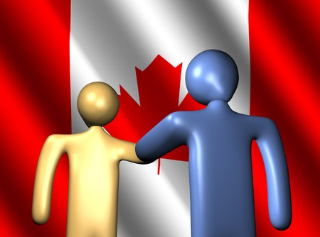 abstract people shaking hands with Canadian flag illustration Stock Illustration - 4519482