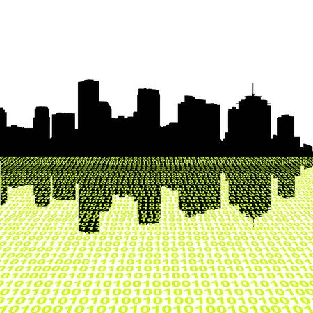 New Orleans skyline with binary code foreground illustration illustration