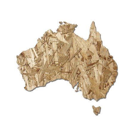 chipboard: Map of Australia with chipboard background on white Stock Photo