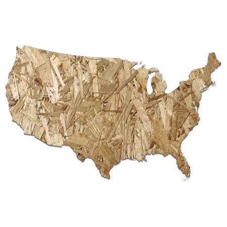 chipboard: Map of USA with chipboard background on white Stock Photo