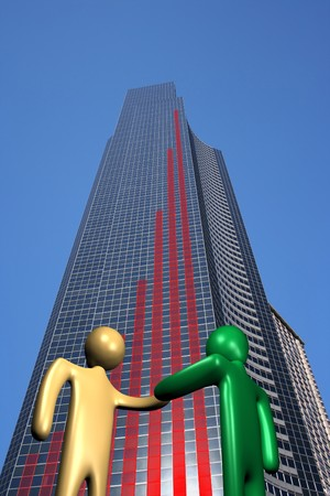 abstract people shaking hands and skyscraper with graph illustration Stock Illustration - 4539009