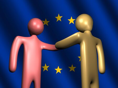 abstract people shaking hands with EU flag illustration illustration