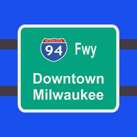 milwaukee: freeway to downtown Milwaukee sign illustration Stock Photo