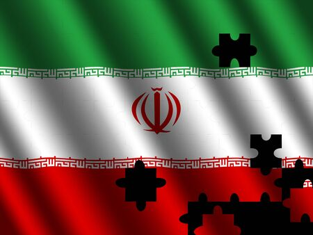 rippled: Iran rippled flag with jigsaw effect illustration