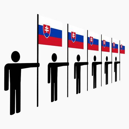 slovakian: line of men holding Slovakian flags illustration