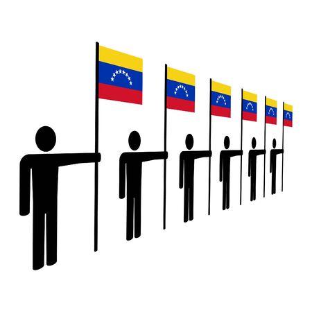 venezuelan: line of men holding Venezuelan flags illustration Stock Photo