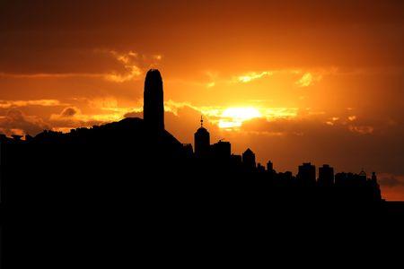 Hong Kong skyline at sunset with beautiful sky illustration illustration