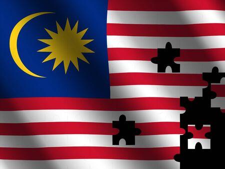 rippled: Malaysian rippled flag with jigsaw effect illustration