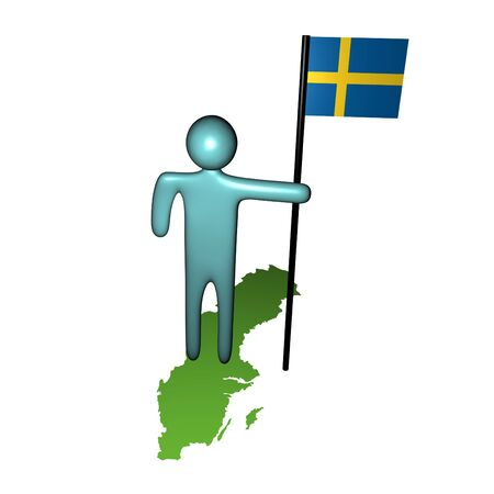 abstract person with Swedish flag on map illustratio Stock Photo - 4579649