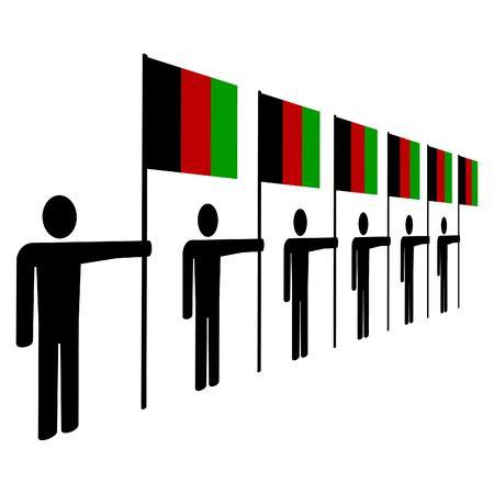 afghan: line of men holding Afghan flags illustration