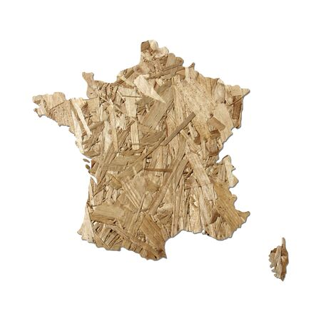 chipboard: Map of France with chipboard background on white Stock Photo