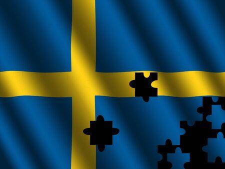 swedish: Swedish rippled flag with jigsaw effect illustration Stock Photo