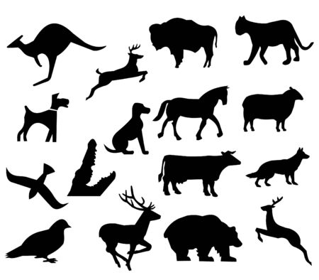 assorted animal silhouettes bear bison dog and deer Stock Photo - 4658190
