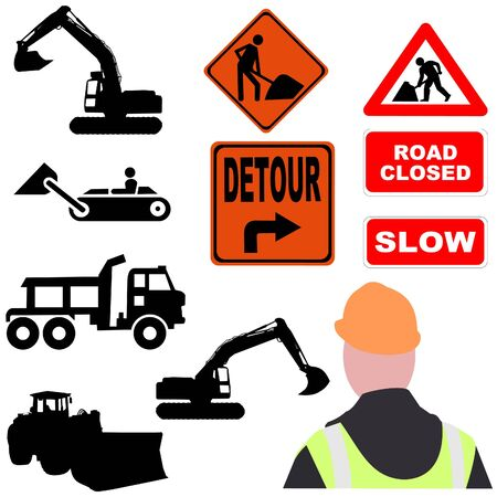 roadwork: assorted roadwork signs and equipment silhouettes illustration