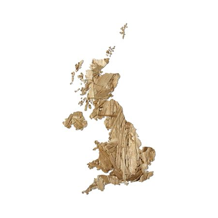 chipboard: Map of UK with chipboard background on white