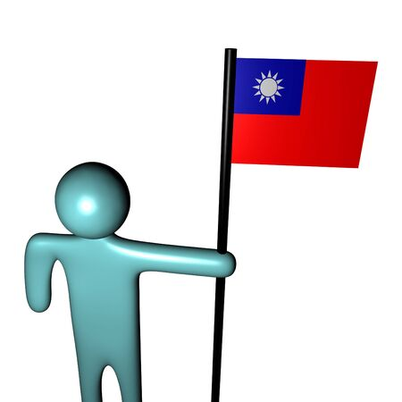 taiwanese: abstract person holding pole with Taiwanese Flag