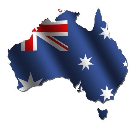 Australian map with rippled flag on white illustration Stock Photo
