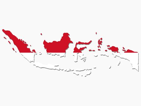 the indonesian flag: map of Indonesia and Indonesian flag illustration Stock Photo