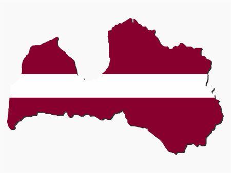 latvia: map of Latvia and Latvian flag illustration