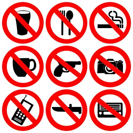 prohibition signs: prohibited signs no drinking smoking and weapons illustration