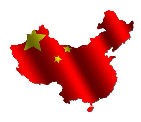 rippled: Chinese map with rippled flag on white illustration