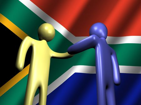 abstract people shaking hands with South African flag illustration illustration