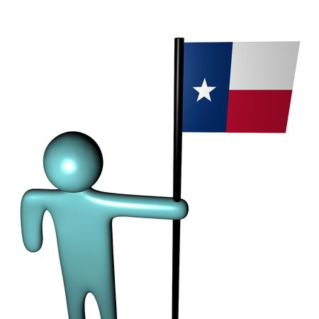 texan: abstract person holding pole with Texan Flag