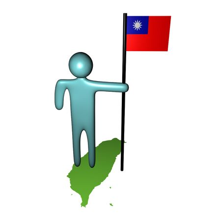 taiwanese: abstract person on map with Taiwanese Flag