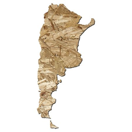 chipboard: Map of Argentina with chipboard background on white