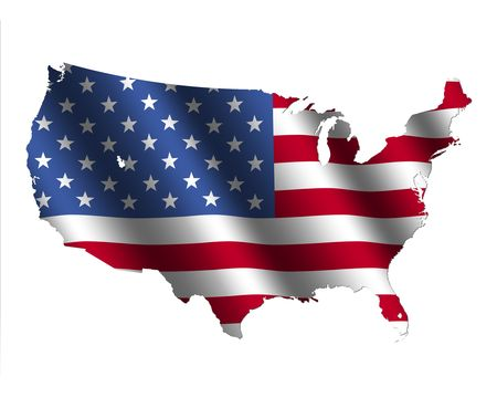 rippled: USA map with rippled flag on white illustration