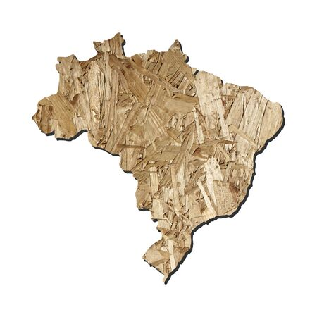 chipboard: Map of Brazil with chipboard background on white