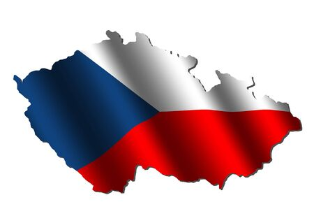 rippled: Czech Republic map with rippled flag on white illustration