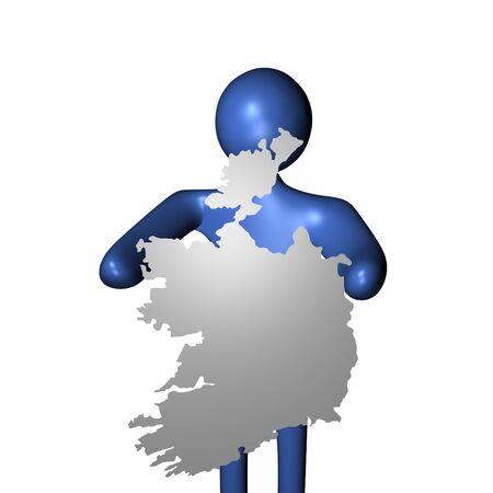 irish map: abstract man holding Ireland map sign illustration Stock Photo