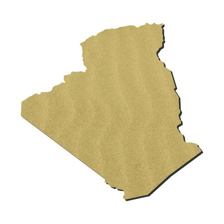 Map of Algeria with rippled sand background