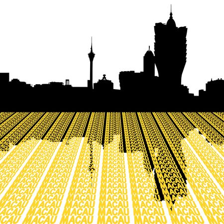 macau: Macau Skyline with city text illustration
