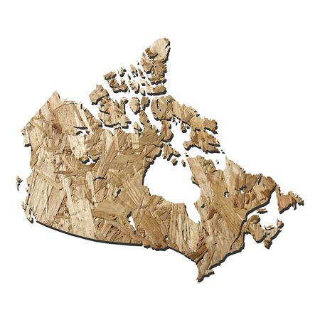 chipboard: Map of Canada with chipboard background on white