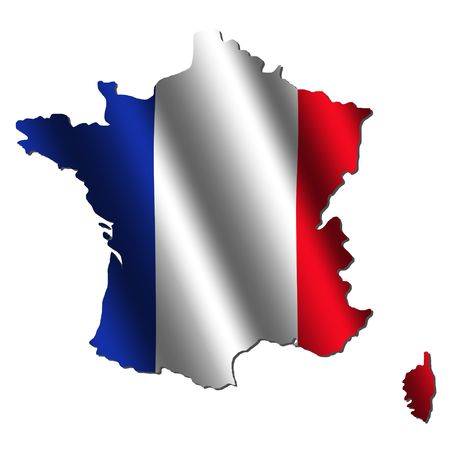 french flag: France map with rippled flag on white illustration
