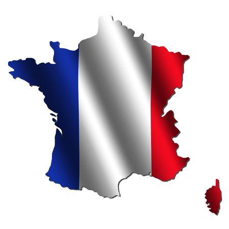 France map with rippled flag on white illustration
