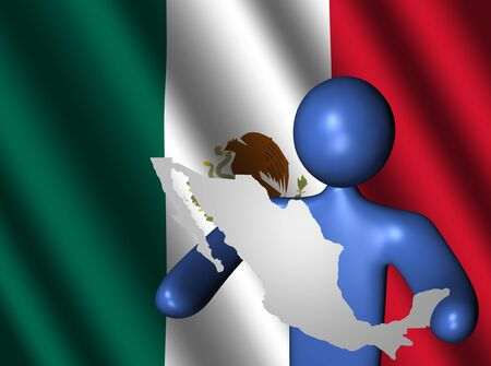 abstract person holding Mexico map sign with Mexican flag illustration Stock Illustration - 4732199