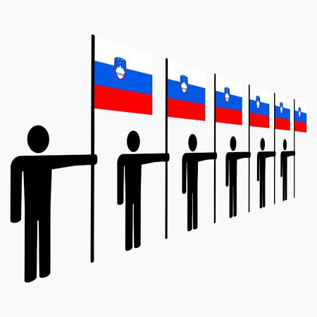 slovenian: line of men holding Slovenian flags illustration Stock Photo