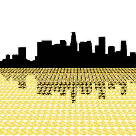 angeles: Los Angeles Skyline reflected with dollar symbols illustration
