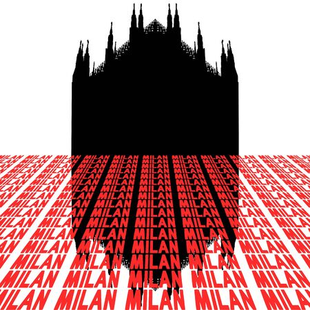 Duomo Milan Italy with perspective text illustration illustration