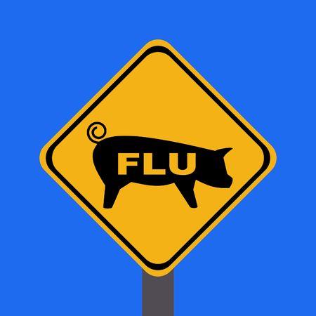 warning swine flu sign on blue illustration Stock Photo