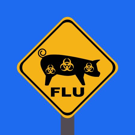 epidemic: warning swine flu sign on blue illustration Stock Photo