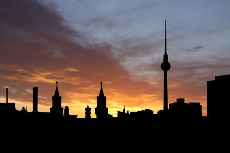 Berlin skyline at sunset with beautiful sky illustration Stock Illustration - 4752019