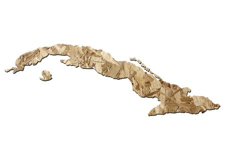 chipboard: Map of Cuba with chipboard background on white