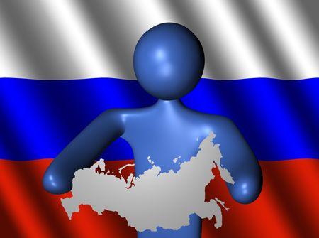 russland karte: abstrakte Person, die Russland Karte Zeichen illustration Lizenzfreie Bilder